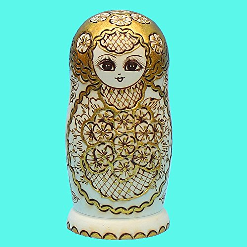 LK King&Light - 10pcs Golden of Plum Pattern Russian Nesting Dolls Matryoshka Wooden Toys by LK (Image #2)