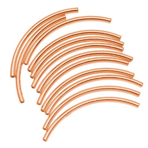(Copper Plated Curved Noodle Tube Beads 2mm x 38mm (12))