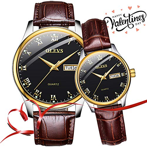 Couple Watches for Men and Women Lovers Wedding Gift Set of 2,OLEVS His and Hers Business Casual Dress Black Dial Analog Quartz Day Date Wrist Watch Waterproof Luminous with Brown Genuine Leather Band