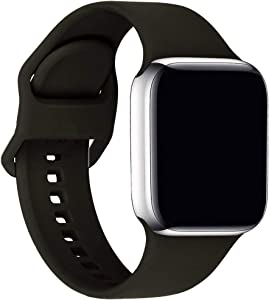 ic6Space Bands Compatible with Apple Watch Series SE/6/5/4/3/2/1, Soft Silicone Sports Replacement Band for iWatch 38mm 42mm 40mm 44mm (Black, 38mm/40mm-S/M)