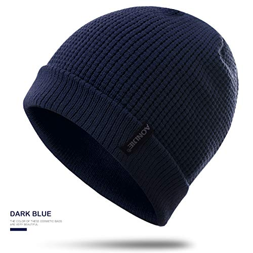 Topnaca Skull Caps Helmet Liner Running Daily Beanie Hat for Men Women, Covers Ears Ultimate Thermal for Hiking Climbing Cycling Football (Dark Blue) ()