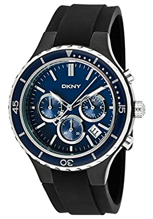 3c5171c903df Image Unavailable. Image not available for. Color  DKNY Men s Chronograph  Blue Dial Black Silicone