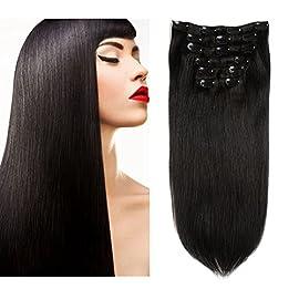 Friskylov Brazilian Clip in Hair Extensions Straight Real Human Hair Extensions Clip ins Double Weft 14Inch Jet Black…