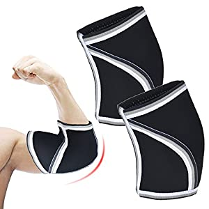 LoveCam Elbow Sleeves (1 Pair) Support & Compression for Weightlifting, Powerlifting, CrossFit & Tennis - 5mm Neoprene Sleeve for the Best Performance - Both Women & Men (Small)