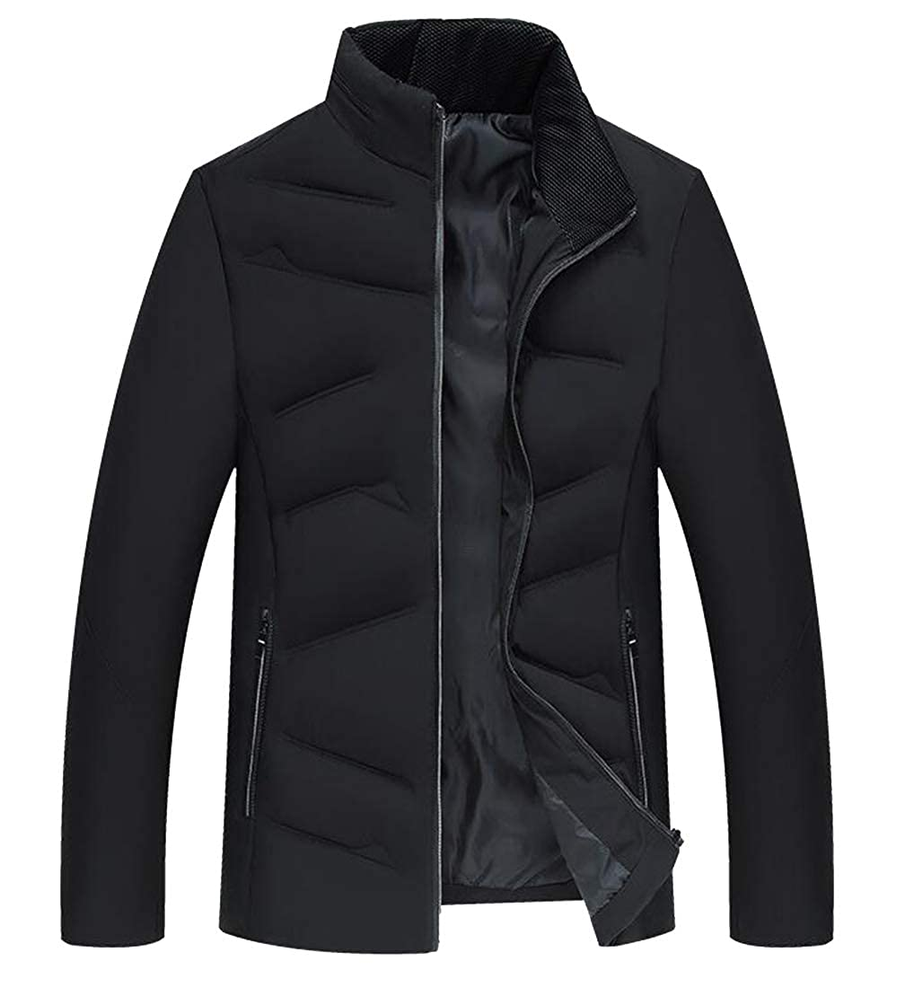 Jofemuho Men Zip Up Solid Color Thickened Stand Collar Winter Down Quilted Coat Outerwear