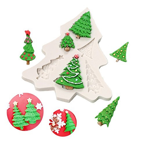 Christmas Tree Shape Silicone Mold Christmas Candy Molds Cake Muffin Chocolate Baking Mold ()