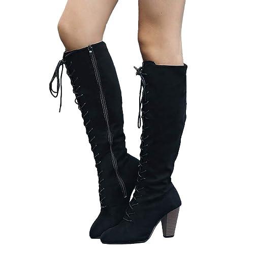 bottines hautes femme daim noir