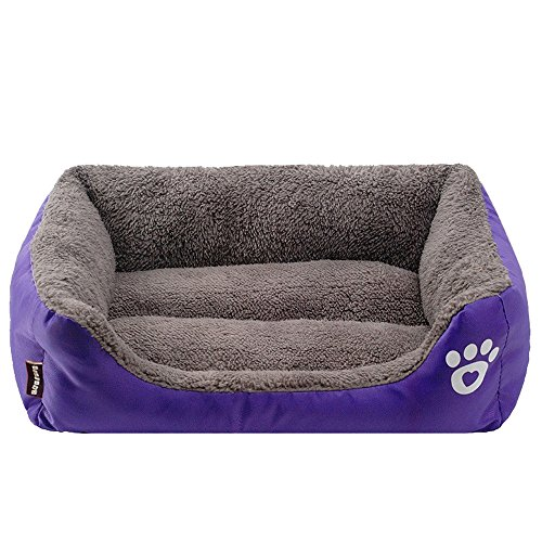Price comparison product image Pet Dog Cat Bed Puppy Cushion House Soft Warm Kennel Dog Mat Blanket Square Pet Nest Dog Cave,  Cat Kennel,  Warm Puppy Nest Mat Cat Winter House Cat Squirrel House Pet Supply (Purple,  L)