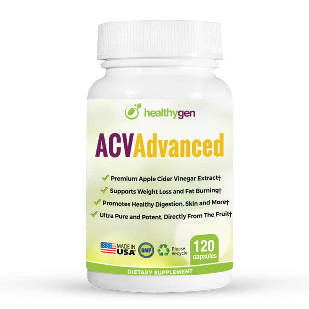 Healthygen ACV Advanced Apple Cider Vinegar Pills. Appetite Suppressant, Detox, Digestion, Metabolism and Immune Booster. Premium, Non GMO, 1400 milligrams, 120 Capsules and Made in the USA