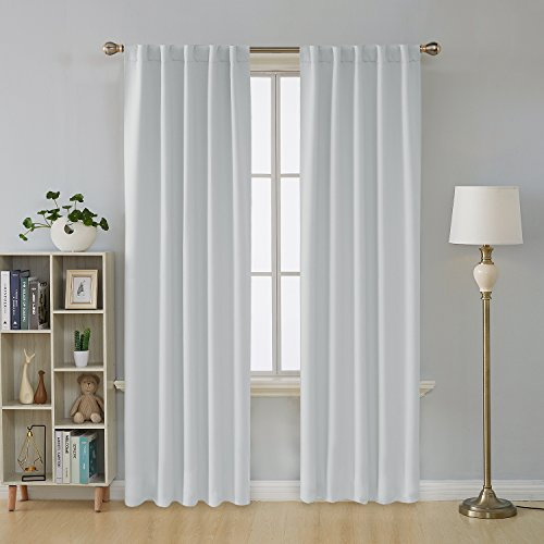 Deconovo Window Curtains Blackout Drapery Panels Back Tab/Rod Pocket Blackout Curtains for Living Room 42x84 Inch Greyish White 2 Panels