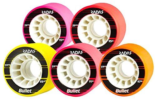 New! Riedell Radar Bullet Indoor Quad Roller Derby Skate Wheels - 8 Pk (Orange) - Womens Aggressive Skates