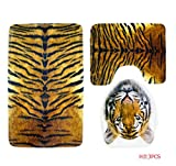 Owl's-Yard 3-Piece Bathroom Set Bath Mat Rug Lid Toilet Covers Toilet Seat Cushion Non-Slip Rubber Backing (Tiger)