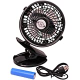 Battery Operated Rechargeable Clip on Fan by MBM Basics-Baby Stroller Fan-Mini Desk Fan-On The Go Fan-Black