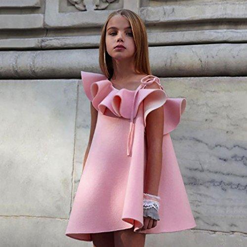 Omiky® Kinder Baby Mädchen Aus Schultergurte Party Prinzessin Kleid Outfit Kleidung Rosa