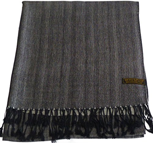 CJ Apparel Grey Black Two Tone Design Shawl Scarf Wrap Stole Pashmina Seconds NEW