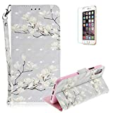 Funyye Folio Wallet Case for iPhone X,Stylish 3D White Flower Fantasy Painted Design Strap Magnetic Flip Case with Stand Credit Card Holder Slots Soft Silicone PU Leather Case for iPhone X,Full Body Shockproof Non Slip Smart Durable Shell Protective Case with Screen Protector