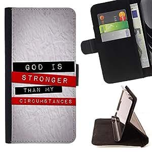 KingStore / Leather Etui en cuir / Apple Iphone 5 / 5S / BIBLIA Dios es más fuerte