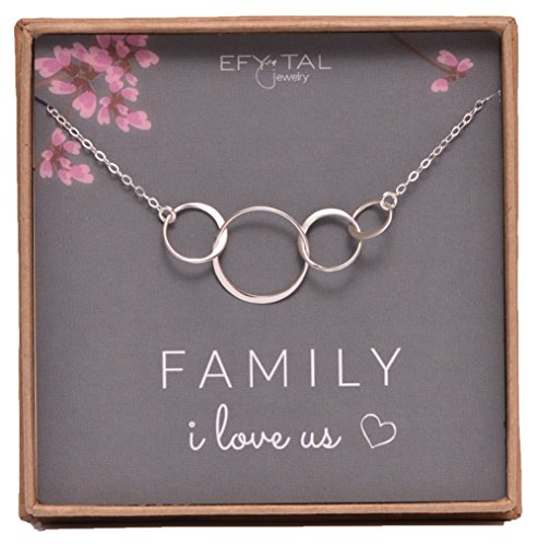 Sterling Silver Family of Four Circles I Love Us Necklace Mom, Dad 2 kids Mothers Day Jewelry Gift 4 Wife