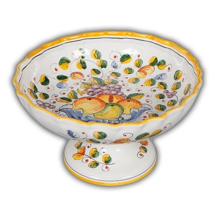 Hand Painted Footed Bowl - Hand Painted Italian Ceramic Miele Fluted Footed Fruit Bowl - Handmade in Deruta