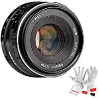 Meike 35mm F1.7 Manual Focus Large Aperture Prime Fixed Metal Lens for Fujifilm APS-C Mirrorless Cameras - Black