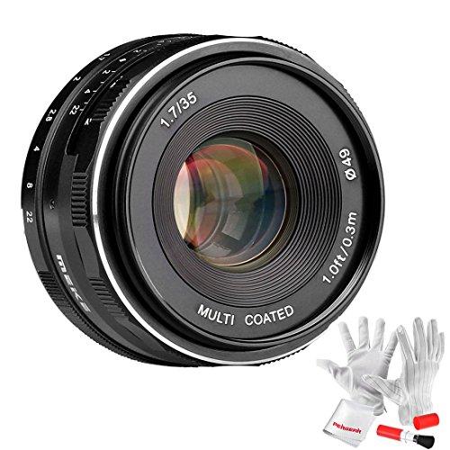 Meike 35mm F1.7 Manual Focus Large Aperture Prime Fixed Metal Lens for Fujifilm APS-C Mirrorless Cameras - Black by Meike
