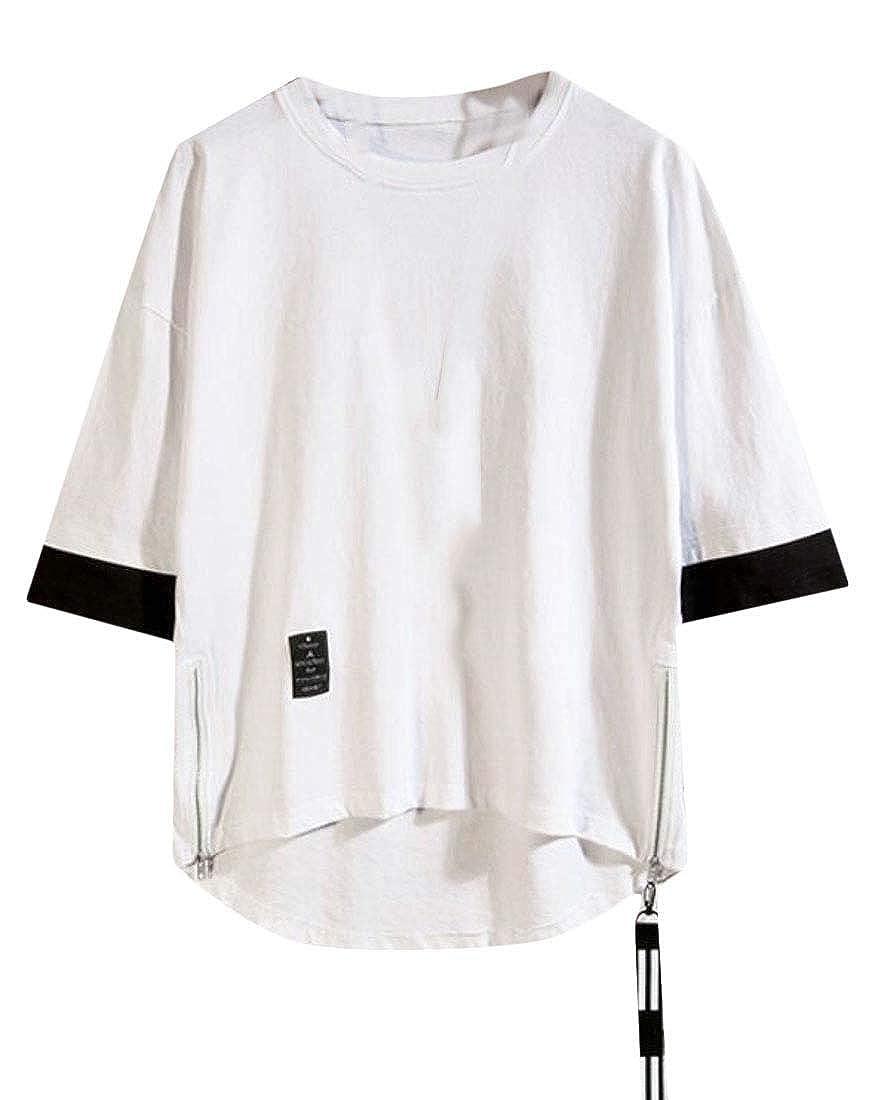 YYG Mens Plus Size Short Sleeve Printing Irregular Hem with Zip Deco T-Shirt Tee Top
