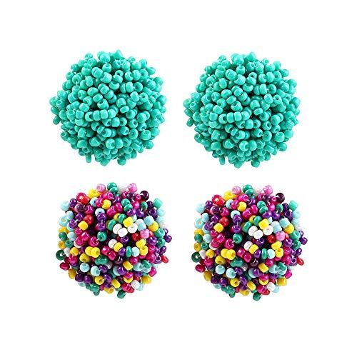 FAUOI Large Stud Earring Set for Women Beaded Earrings Blue and Colorful Bohemian Earrings Gift for Women
