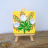 Mini Painting Floral Art Set With Easel Home Decoration
