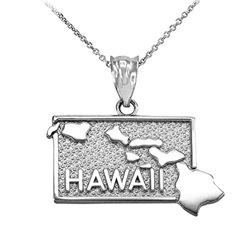 Hawaii HI Islands State Map Pendant Necklace in 925 Sterling Silver, 22