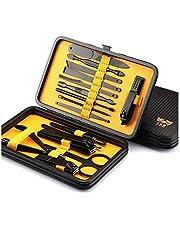 Conjunto de podadoras 18 en 1 acero inoxidable Set de manicura profesional corta uñas del dedo de los alicates uñas de arte herramientas de belleza tijeras cuchillo mejor regalo ( color : Yellow )