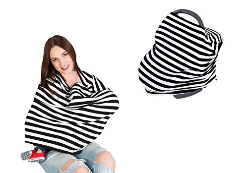 Nikitony Stretchy Multi-Use Car Seat Canopy - Nursing Cover - Shopping Cart Cover - Unisex And Universal Fit - Black and White Stripes (Candy Gift Baskets Girl compare prices)