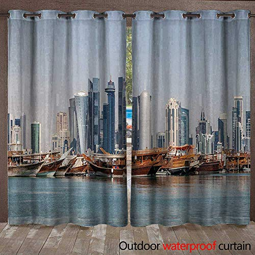 Modern Indoor Outdoor Curtain Qatar City Skyline at Dhow Middle Eastern Coast with Ships Skyscrapers ViewW108 x L96 Light Blue Cinnamon ()