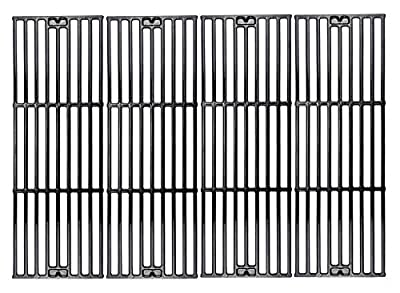 Hisencn Replacement Porcelain Coated Cast Iron Cooking Grid Set of 4, Select Gas Grill Models by Chargriller 3001, 3030, 3725, 4000, 5050, King Griller 3008, 5252 and Others, Grill Grates