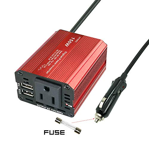 APINEE Premium 150W Car Power Inverter DC 12v to AC 110V with USB Port for Laptop, Phone, iPad, Tablet, Camera,etc