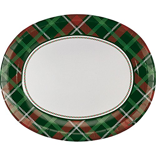 Creative Converting 8-Count Oval Paper Platters, Tartan Tidings
