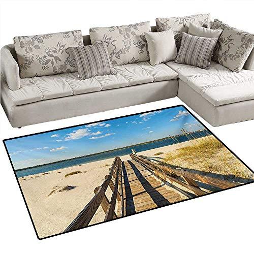 (Beach Anti-Static Area Rugs Perdido Beach and Long Pier Deck Over Sand Gulf of Mexico South America Resort Theme Children Kids Nursery Rugs Floor Carpet 40