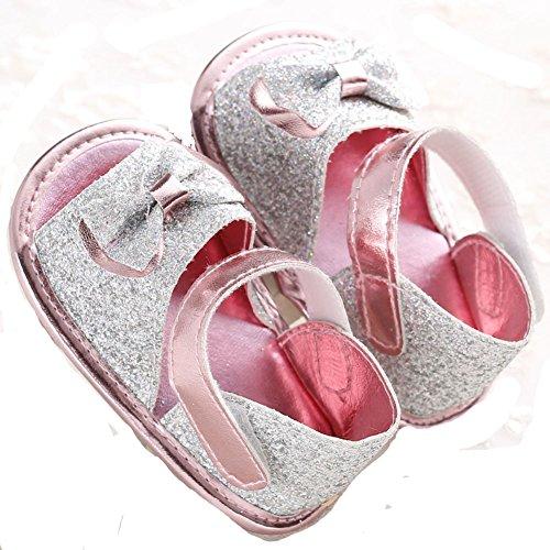 etrack-online Baby Girl Bling Bling gran lazo Prewalker Verano Sandalias plateado Talla:0-6 meses plateado