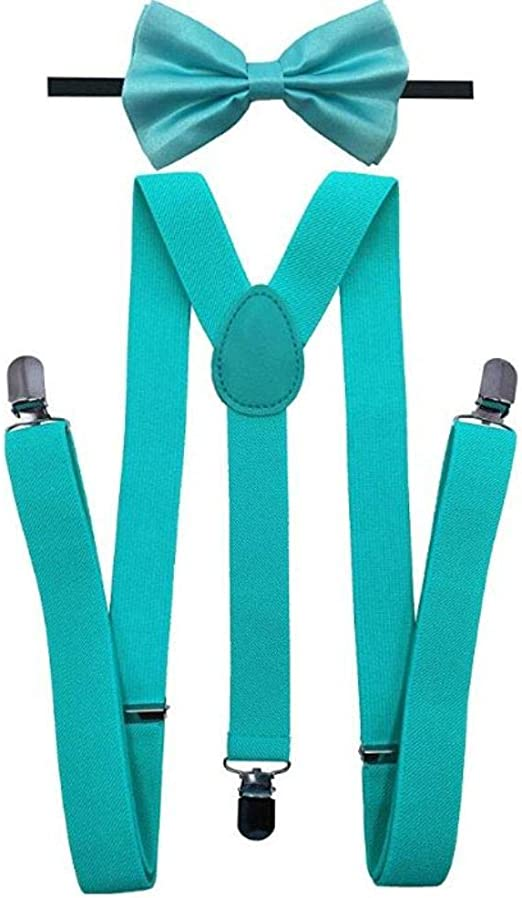 Adult Bow Tie /& Suspender High Quality Adjustable Combo Set Sky Blue