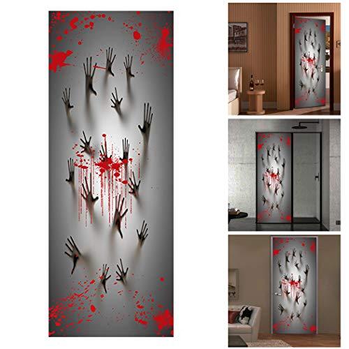 Outgeek 2PCS Halloween Door Sticker Creative Scary 3D