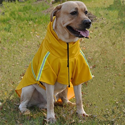 (JYHY Dog Raincoat Adjustable Reflective Waterproof Lightweight Dog Rain Jacket with Hood for Small Medium Large Dogs,Yellow L)