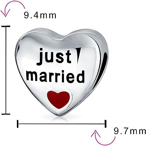Charms Anhänger Hochzeit Silber 925 Schmuck Just Married mit rotem Herz