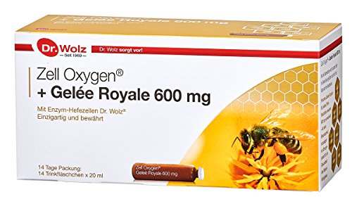 Zell Oxygen + Gelée Royale 600mg | Enzym-Hefezellen mit frischem Gelée Royale | 14 Ampullen à 20ml