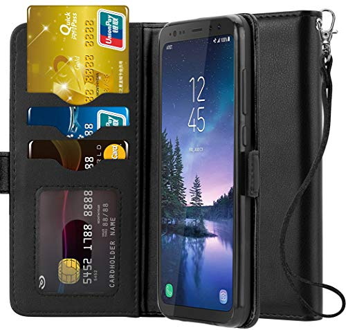 Ferlinso Samsung Galaxy S8 Active Case, Elegant Genuine Real Leather with ID Credit Card Slot Holder Flip Cover Stand Magnetic Closure Case for Samsung Galaxy S8 Active-Black