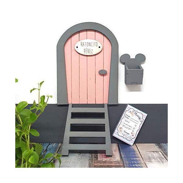 Puerta Ratoncito Pérez rosa,con escalera,buzón y certificado 5