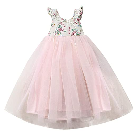 Baby Toddler Girls Princess Wedding Dresses Clothes 1-7 Years Old Kids Sleeveless Birthday Bridesmaid Gown Dress