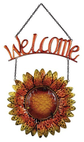 Sunset Vista Designs Metal and Glass Hanging Sunflower Welcome Sign