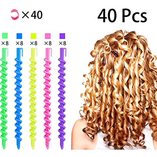 40 Pieces Spiral Hair Perm Rod, Hairdressing Spiral Hair Perm Rod, Styling Spiral Hair Perm Rod, Long Plastic Spiral Hair Perm Rod, Spiral Curling Perm Rod, Styling Barber Salon Tool (Best Perm For Thin Hair)