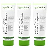 Probiotic Charcoal Toothpaste: All Natural with Xylitol and Organic Coconut Oil - Fluoride Free - Spearmint (4oz) (3-Pack)