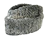 Men's grey Persian lamb ambassador hat with false brim and twill lining. Made by top class hatters of real Astrakhan fur, this cozy fur hat will keep your head warm in any weather. Note: there are no ear flaps. Brim width: approximately 3 2/3 inches....