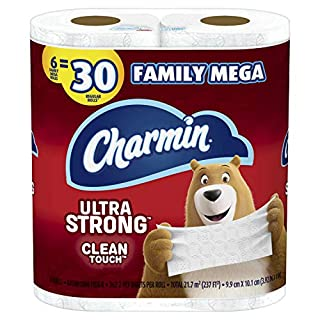 Charmin Ultra Strong Clean Touch Toilet Paper, Family Mega Rolls, Prime Pantry, 6 Count
